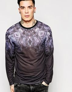 ASOS Longline Long Sleeve T-Shirt With Faded Yoke Print And Stepped Hem