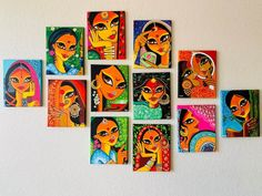 Mughal Paintings, Indian Art Paintings, Small Canvas Art, Diy Canvas Art, Painting Process, Diy Painting, Painting Canvas, Indian Folk Art, Madhubani Painting