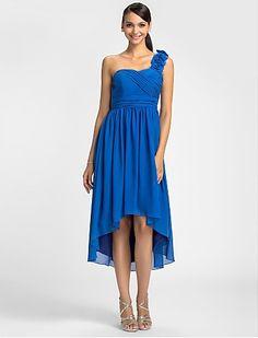 Bridesmaid Dress Asymmetrical Chiffon Sheath Column One Shoulder Dress  Easebuy! Free Measurement!