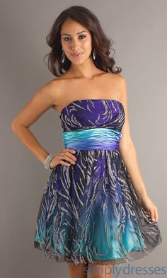 Short Strapless Purple  Turquoise Glitter Dress MO-11229