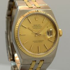 1981 Vintage Rolex Oyster Quartz Datejust 18k Yellow Gold & Stainless Steel Ref. 17013