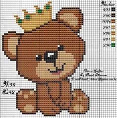 Resultado de imagem para quero ursinho em ponto de cruz com coroa para menina e menino