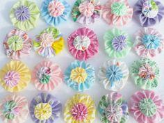Fabric-Flower-SPRING-Yo-Yo-Quilt-Embellishments-Applique-Hairbow-Bobby-Pin