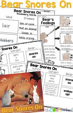 Interactive read aloud activities for the popular winter story, Bear Snores On by Karma Wilson Kindergarten Writing Activities, Kindergarten Lesson Plans, Classroom Activities, Book Activities, Montessori Preschool, Therapy Activities, Interactive Read Aloud, Bear Theme, Maker Space