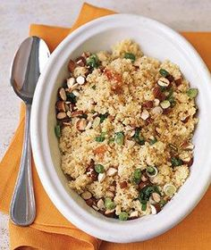 Couscous With Apricot Vinaigrette - This slightly sweet side dish goes well with pork or chicken. You can also drizzle the vinaigrette over rice or quinoa instead of couscous Couscous Dishes, Couscous Salad, Fun Cooking, Cooking Recipes, Meal Recipes, Grilling Recipes, Cooking Ideas, Chicken Recipes, Recipies