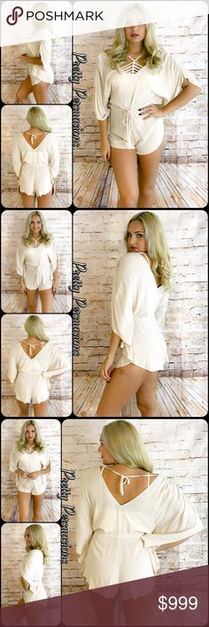 NWT Cream Beige Tie Waist Flutter Sleeve Romper Coming Soon Pretty Persuasions Pants Jumpsuits & Rompers