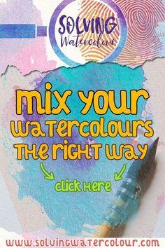 Watercolor Beginner, Watercolor Paintings For Beginners, Watercolor Mixing, Watercolor Art Lessons, Watercolor Tips, Watercolor Projects, Watercolour Tutorials, Painting Lessons, Watercolor Techniques