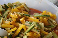 Cucumber and daigo salad in kim chee base