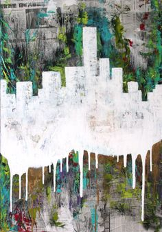 """""""and then it fell apart"""" Collage / Acryllic /Spraypaint on canvas 70 cm x 100 cm"""