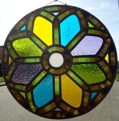 Stained Glass Panel 'Rose Window' by JimenezStainedGlass on Etsy https://www.etsy.com/listing/150600444/stained-glass-panel-rose-window