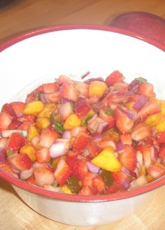 Skinny Mom's, Strawberry and Mango Salsa is perfect for your next taco night! It's sweet, not spicy so your kids will go crazy for it!