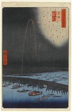 Hiroshige - One Hundred Famous Views of Edo Autumn 98 Fireworks by Ryōgoku Bridge (両国花火 Ryōgoku hanabi?)Sumida River, Ryōgoku Bridge — 1858 / 8Ryōgoku, Sumida