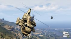 Two choppers dual in the air above Los Santos, with rolling hills in the background.