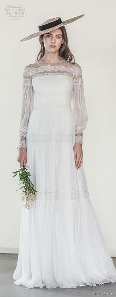 divine atelier 2018 bridal long sleeves illusion jewel straight across neckline light embellishment romantic bohemian soft a line wedding dress sweep train (2) lv -- Divine Atelier 2018 Wedding Dresses