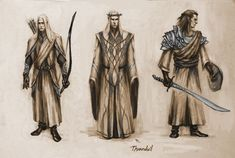 Conceptual drawings of Thranduil and Mirkwood Elves, by tristan-haohao on DeviantArt.