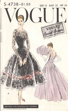 Lovely Evening Gown or Cocktail Dress Pattern Vogue Special Design 4738 Figure Flattering Full Skirt Dress Deep V Back Ideal For Lace Sheer Fabrics Bust 38 Vintage Sewing Pattern Vogue Dress Patterns, Vintage Dress Patterns, Vintage Fabrics, Moda Retro, Moda Vintage, 1950s Style, Vintage Outfits, Vintage Dresses, Vintage Clothing