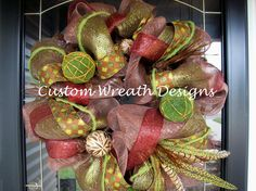 Brown and Maroon Moss Mesh Wreath by lilmaddy12 on Etsy, $115.00