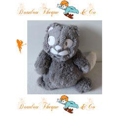 Peluche chat PAT ET RIPATON gris queue blanche 22 cm