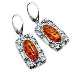 'Masterpiece' Large Sterling Silver Natural Baltic Amber Dangle Earrings