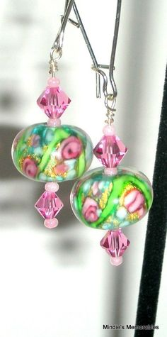 Garden floral earrings green and pink lampwork glass by Mindielee