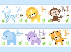 SAFARI ANIMAL BORDER Boy Nursery Alphabet Decal Wall Art Stickers Room Decor Baby Shower Decorations Kids Childrens Jungle Zoo Abc Letter #decampstudios