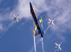 U.S. Navy Flight Demonstration Squadron, the Blue Angels, flies over San Francisco Bay
