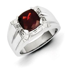 Men's Cushion Cut Garnet Diamond Ring In Sterling Silver Jewelry Available Exclusively at Gemologica.com  Valentine's Day 2015 Jewelry Gift Ideas for Him, Her and Kids. Gemologica has the perfect homemade and creative gifts for your boyfriend, girlfriend and for couples including rings, earrings, bracelets, necklaces and pendants.  Shop now for special savings at https://www.gemologica.com/  Gift Guide Located at https://www.gemologica.com/jewelry-gift-guide-c-82.html