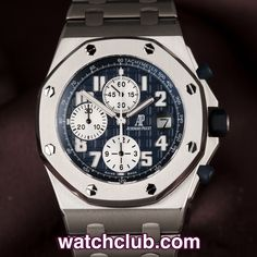 AUDEMARS PIGUET Royal Oak Offshore - 42mm Titanium REF: 25721TI.OO.1000TI.04.A | Year Nov 2007  Audemars Piguet do not make many titanium watches, so this 42mm Offshore is a real find! Sporting a dark blue mega tappisserie dial with white sub dials (only ever made available for bracelet models), our ref:25721TI is powered by AP's self-winding chronograph movement - for sale at Watch Club, 28 Old Bond Street, Mayfair, London