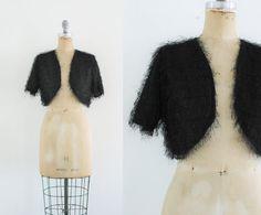 Vintage Handmade Shrug Bolero Black Shrug Black by JupeDuJour
