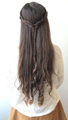 Half up half down fishtail braid long curly hair