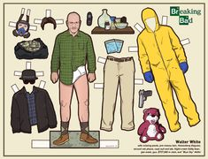 Breaking Bad: le paper doll di Walter White e Gus Fring Costume Breaking Bad, Breaking Bad Kostüm, Breaking Bad Party, Walter White, Gus Fring, Charlie Kelly, Andy Dwyer, Jesse Pinkman, Heisenberg