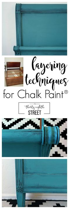 Thirty Eighth Street | Furniture Painting Tutorial: Layering Paint Techniques To Create The Perfect Turquoise Patina. Get The Full Details To Recreate This Gorgeous Turquoise Headboard.