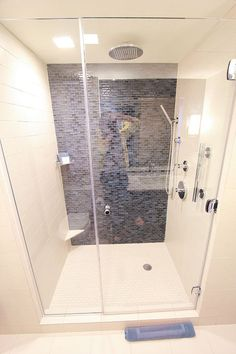 Great shower idea for the basement courtesy of an NYC hotel room.