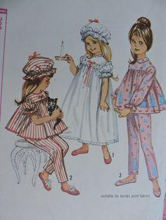 Simplicity 5080 Girls Two Pc Pajamas Nightgoen and Night Cap Sewing Pattern Size 2 (Breast Vintage Cut and . Sewing Patterns For Kids, Mccalls Sewing Patterns, Simplicity Sewing Patterns, Vintage Patterns, Sewing Ideas, Childrens Pyjamas, Nightgown Pattern, Pajama Pattern, Vintage Boys
