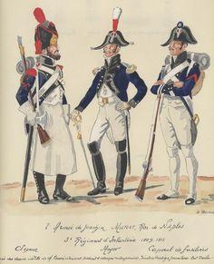 Zappatore, maggiore e caporale del 3 rgt. fanteria di linea del regno di Napoli