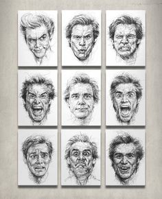 Artist Vince Low createsadiverse set of funny Jim Carrey faces with his scribble-style portraits, paying homage to the actor's physical range.