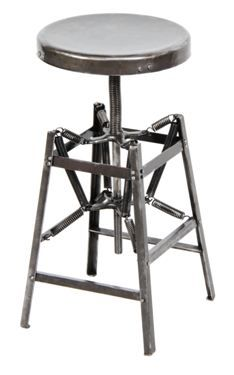 c. 1920's vintage medical operating room spring-loaded steel stool - Hamilton Manufacturing co., Two Rivers, WI $895