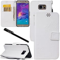 Urvoix Galaxy Note 5 Case, Credit Card Holder Leather Cover Embossed Romantic Dandelion Folio Case for Samsung Galaxy Note5 N920, White * Special  product just for you. See it now! : Utensil Organizers