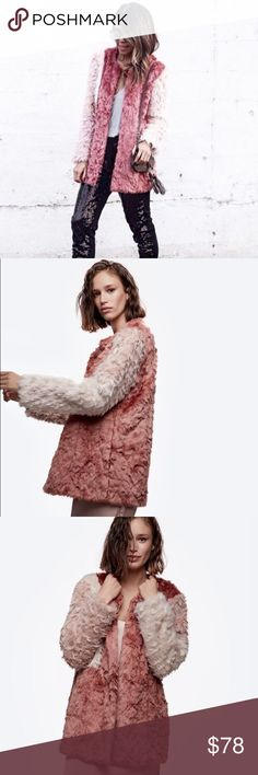 """Daya by Zendaya Tri Color Pink Faux Fur Coat XS Daya by Zendaya Tri Color Pink Faux Fur Coat  • Sz XS, will also fit a Sz small • ColorBlock Patchwork Ombré  • NWT • Satin lined  • Faux Fur • Tonal pink shades • Above the knee cut • Slim arm & sleeves  • 3 hook eye/tab closures • Measured flat • 20.5"""" bust • 27"""" length • 18"""" sleeve inseam  • 16"""" shoulders Daya By Zendaya Jackets & Coats"""