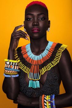 Colourful handmade African beads jewelry and necklaces inspired by Nigerian wedding yellow necklace, bridal coral jewelry Kenya Maasai choker African American History Month, Black African American, African Women, African Fashion, Native American, African Beads, African Jewelry, African Accessories, Black Women Art