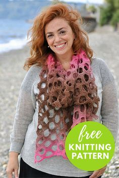 """Free Knitting Pattern: Holey Scarf (one ball project)  Knit a luxurious and colorful scarf hand dyed Schoppel Lace Ball 100 yarn.  Completed Scarf Measures: 22"""" Wide x 90"""" Long,after blocking  Gauge:19 sts and 20 rows = 4"""" x 4"""" in pattern  You will need:      * 1 ball Schoppel Lace Ball 100 Yarn     * Size US 7 circular 24"""" needle     * Finishing Needle DOWNLOAD Pattern"""