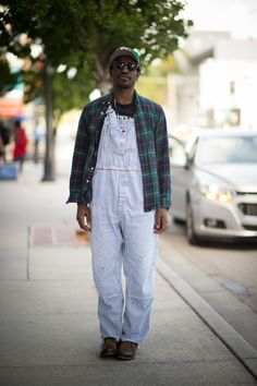 Andre 3000's Striped Denim Overalls, Plaid Shirt...and for the latest in trending accessories, visit Designs By Maral, on etsy ...http://etsy.com/shop/designsbymaral/