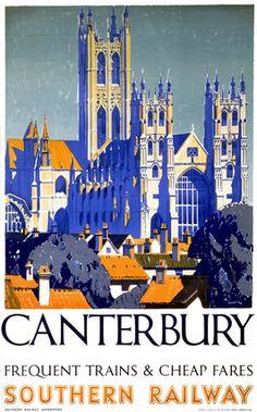 Vintage Travel Poster - England, Kent - Canterbury, 1930s, Southern Railway