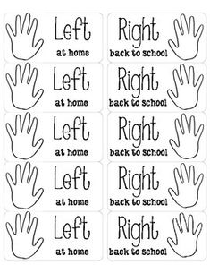 "This are ready to print on shipping labels. I put these in students' take home folder so they know what papers go where. They say ""Left at home"" and ""Right back to school""."