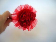 Kırmızı Keçe Çiçekli Lohusa Tacı
