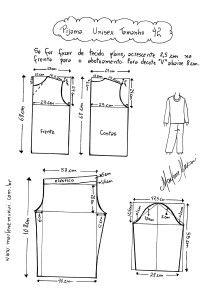Molde de Abrigo ou Pijama tamanho 42.