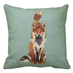 Retro Fox And Owl Pillowcase Cotton Cushion Cover 18