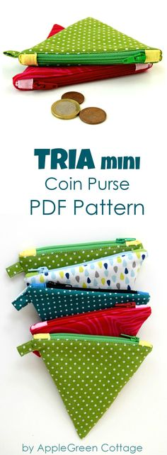 Mini Coin Purse Pattern - AppleGreen Cottage - ​​​​Need an extra small coin pouch that would not take up much space? Something flat, so yo - Sewing Basics, Sewing Hacks, Sewing Tutorials, Sewing Crafts, Sewing Diy, Coin Purse Pattern, Purse Patterns, Sewing Patterns Free, Free Pattern