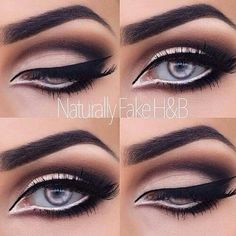 Arabic style eye makeup, black black liner with white. This is so pretty.