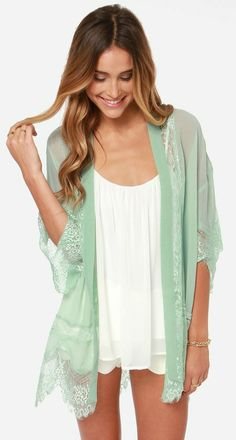 The Rambling Rose Mint Green Lace Kimono Top has a dusty shade of mint green flowing down this open front kimono top with luscious lace encircling the hem. Gilet Kimono, Lace Kimono, Kimono Top, Kimono Style, Kimono Cardigan, Mode Style, Style Me, Green Lace, Mint Green